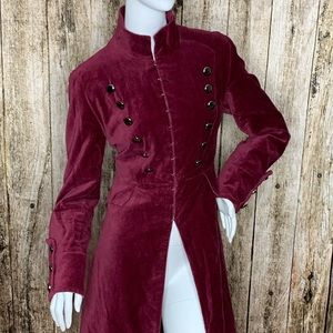 Newport News Burgundy Velvet Military Prince Coat